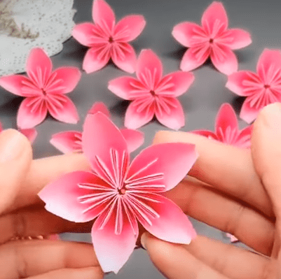 How to make origami pink flowers?