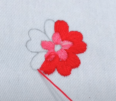 How to stitch a flower with wool?