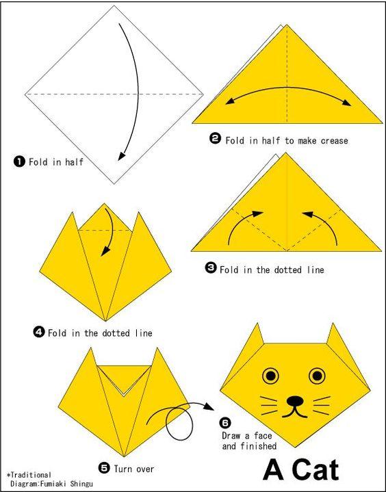 DIY Origami tutorial cat