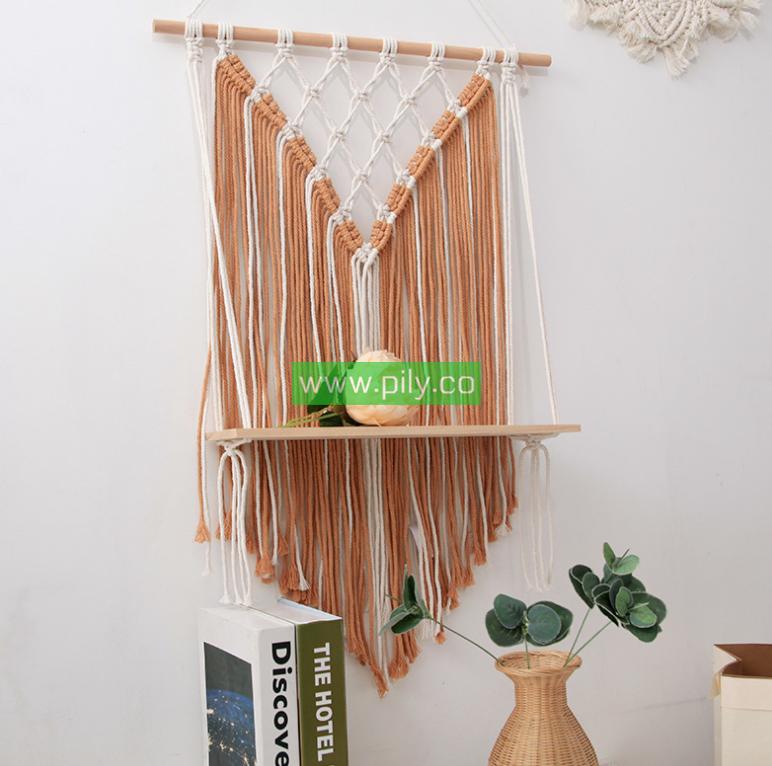 macrame wall hanging shelf