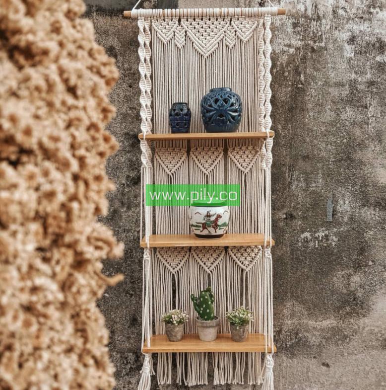macrame wall hanging shelf boho